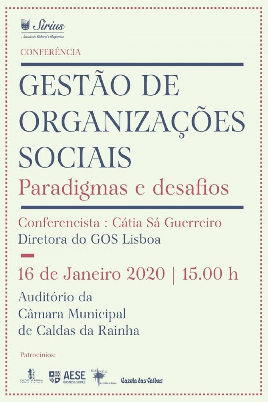 Conferência 'Gestão de Organizações Sociais'