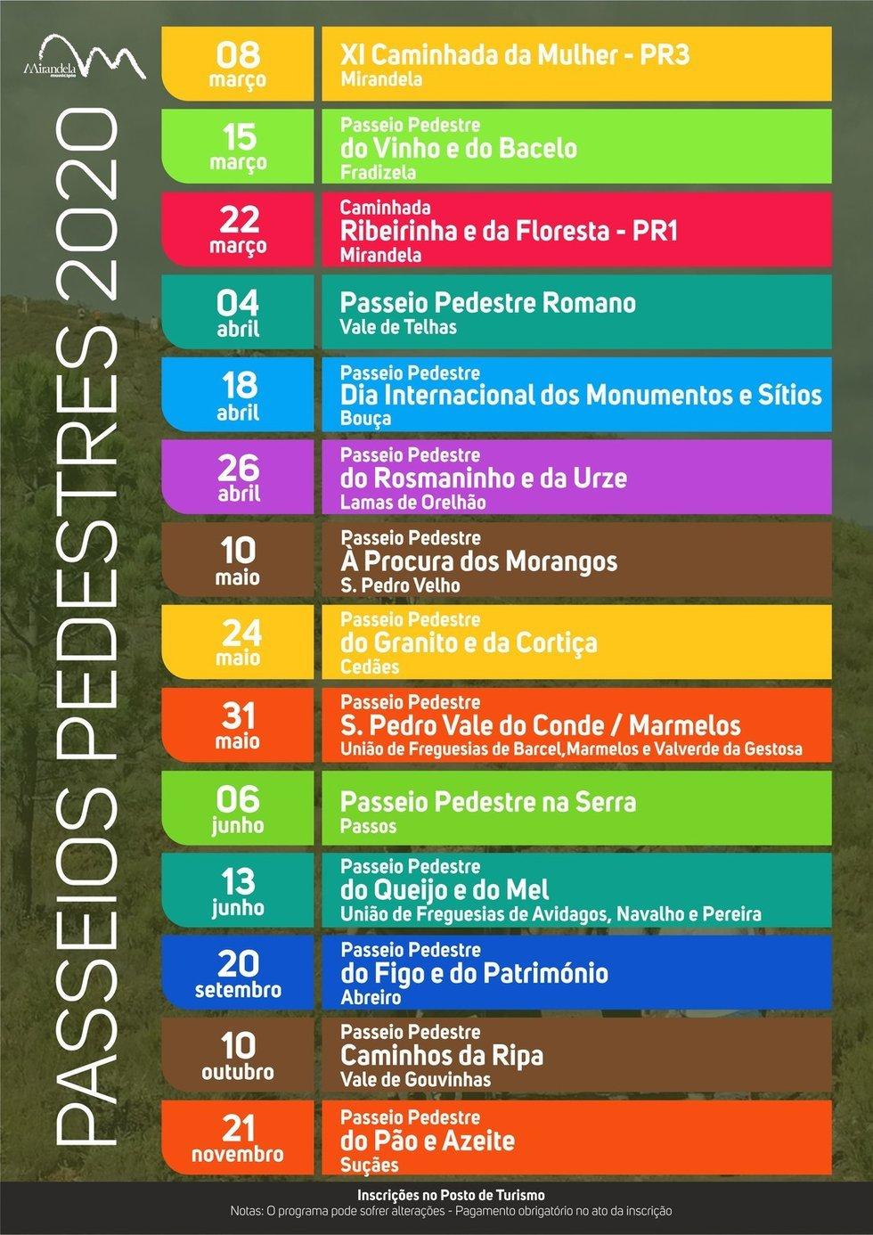 Calendário de Percursos Pedestres 2020