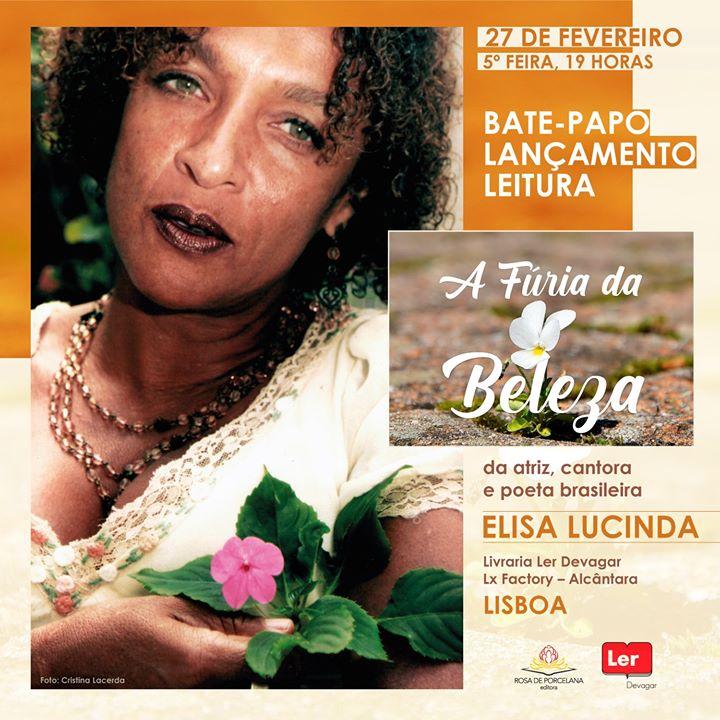 """Lançamento do livro """"A Fúria da Beleza"""", de Elisa Lucinda"""