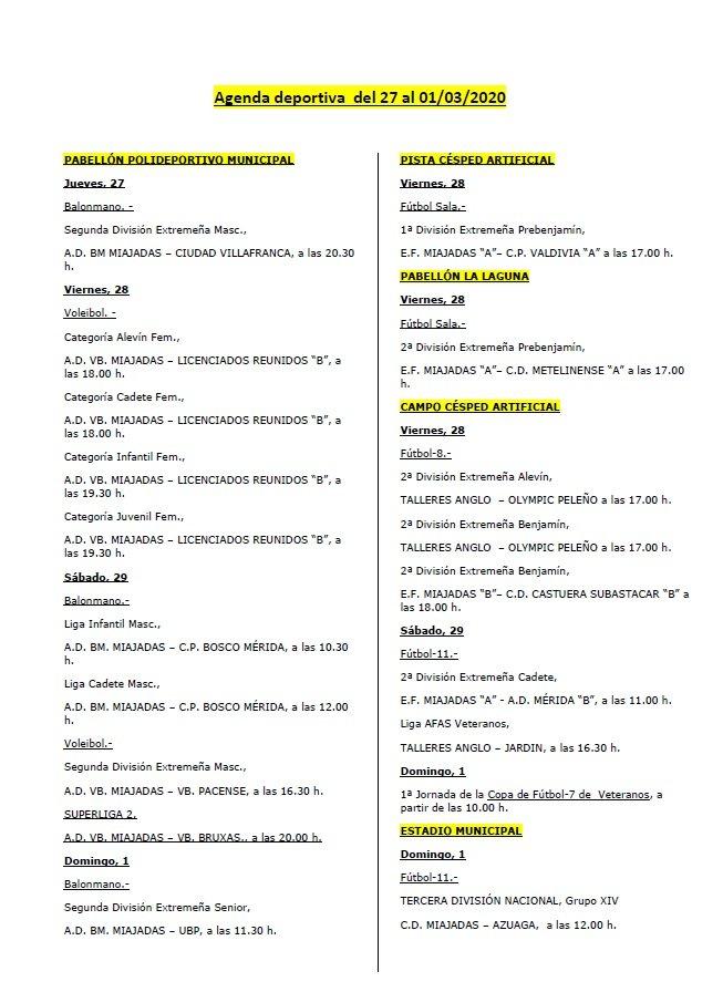 Agenda deportiva del 27 al 01/03/2020