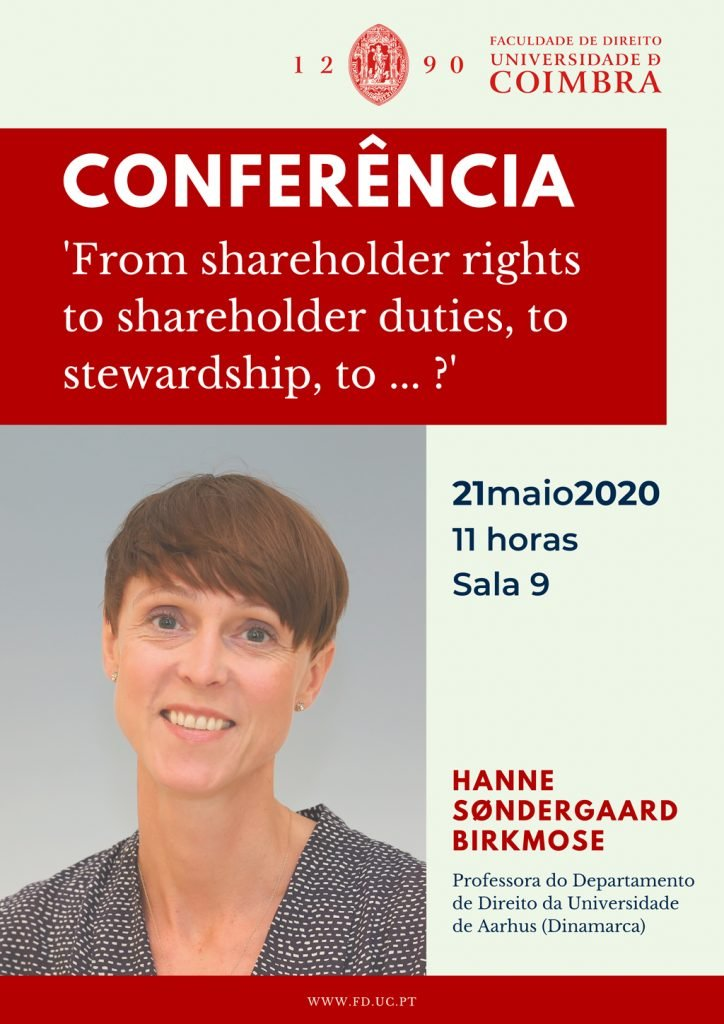 CONFERÊNCIA  'From shareholder rights to shareholder duties, to stewardship, to … ?'