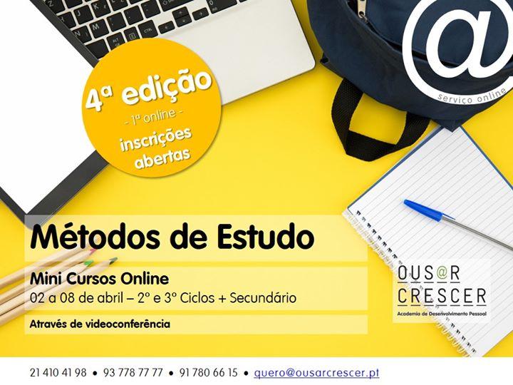 NOVAS DATAS - Mini Cursos Métodos de Estudo Online