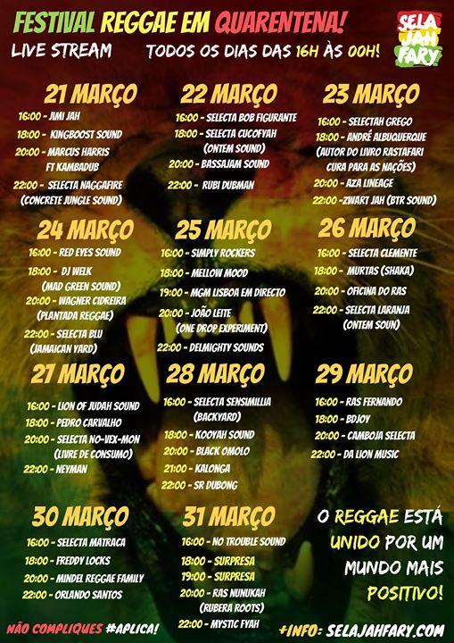 Festival Reggae em Quarentena - Todos os dias das 16h às 00h!