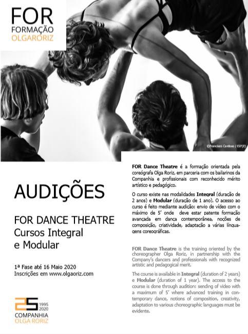 Audição FOR Dance Theatre | Cursos Integral e Modular