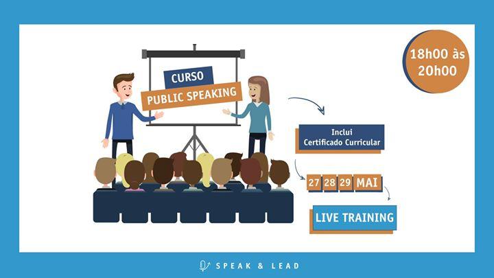 Curso Public Speaking - Online - 27, 28 e 29 de Maio