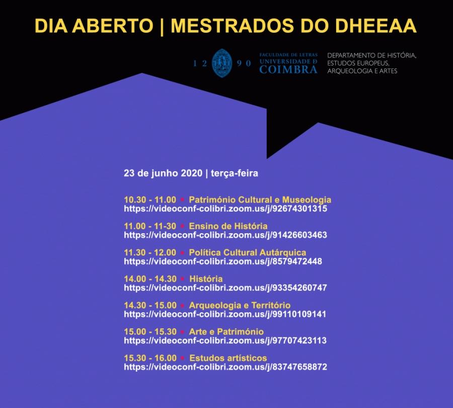 Dia Aberto | Mestrados do Departamento de História, Estudos Europeus, Arqueologia e Artes