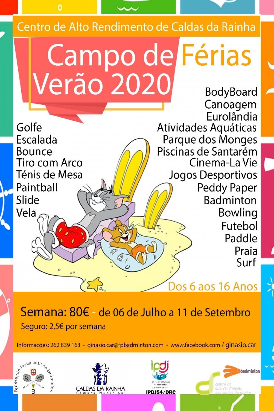 INSCRIÇÕES CAMPO DE FÉRIAS 'VERÃO 2020'