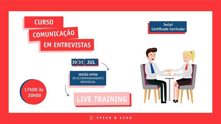 Curso Comunicação Entrevistas - Online - 30 e 31 Julho