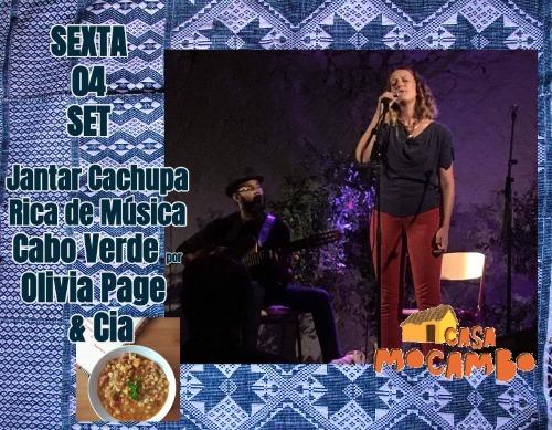 Jantar Cachupa Rica de Música, Cabo Verde por Olivia Page e Cia.
