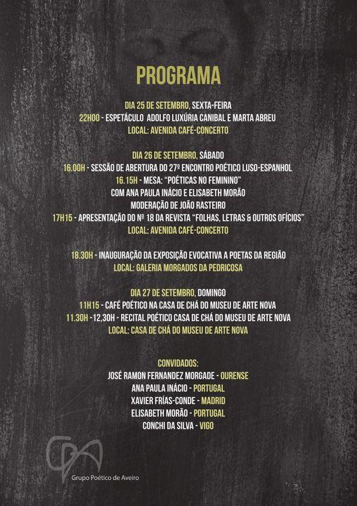 27º Encontro Poético Luso-Espanhol- Sábado 26/09 Inauguração de Exposição homenagem a Poetas da região