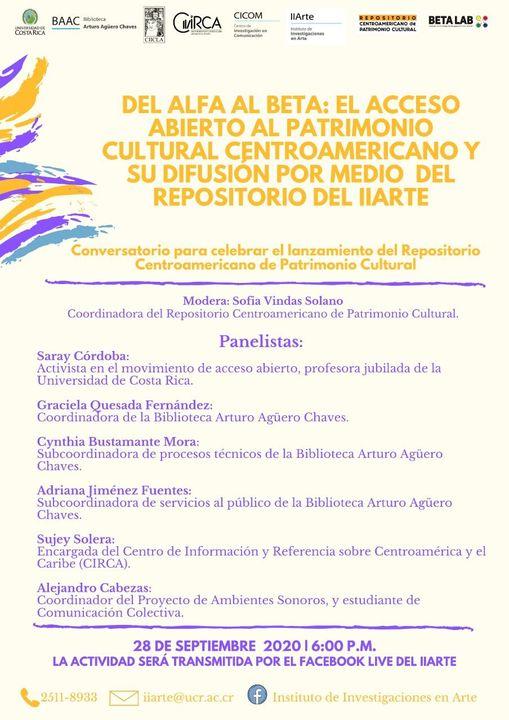 Del alfa al beta: El acceso abierto al patrimonio cultural centroamericano y su difusión por medio del repositorio del IIARTE