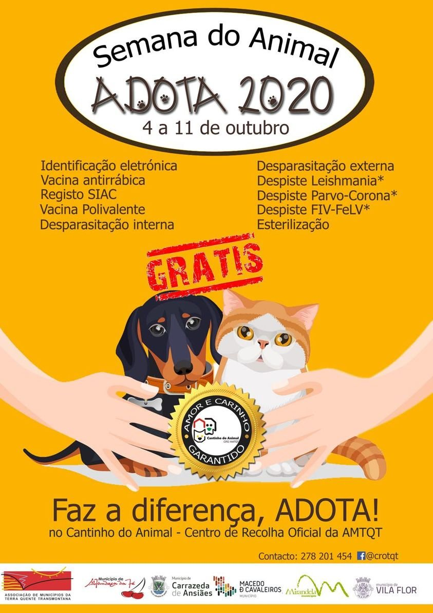 Semana do Animal - Adota 2020 - 4 a 11 de outubro