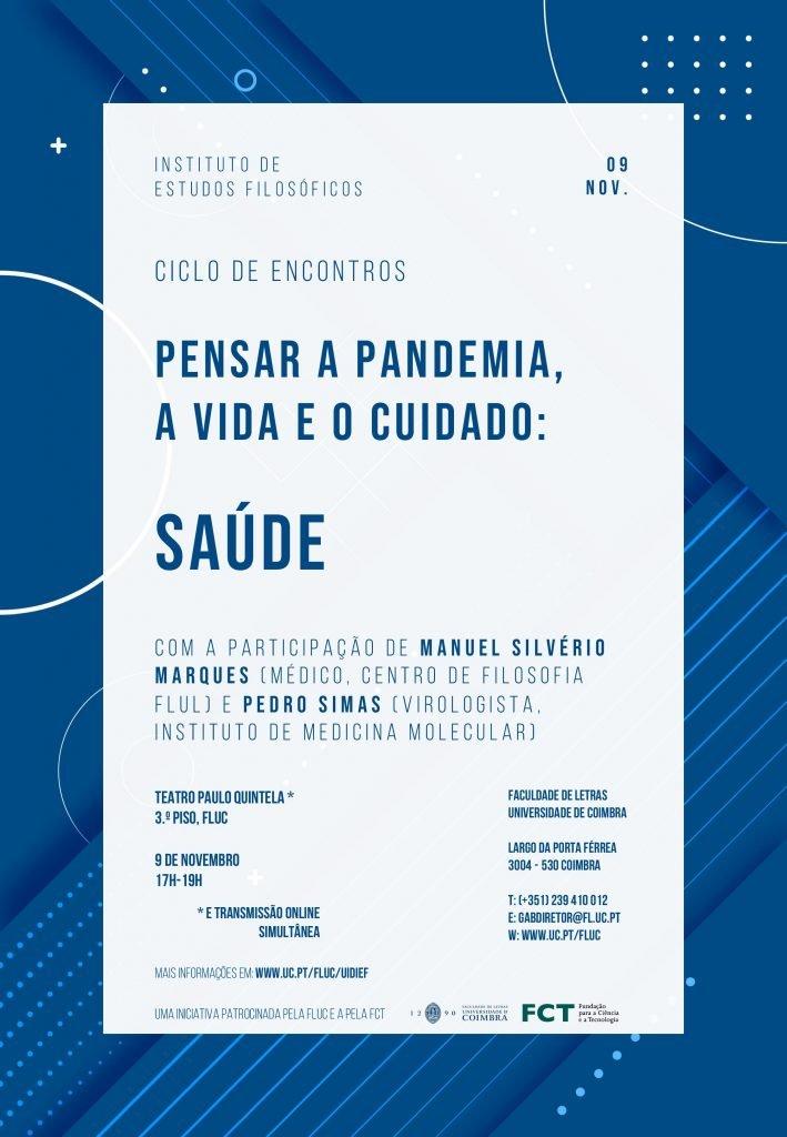 """Saúde   Ciclo de Encontros """"Pensar a Pandemia, a Vida e o Cuidado"""""""