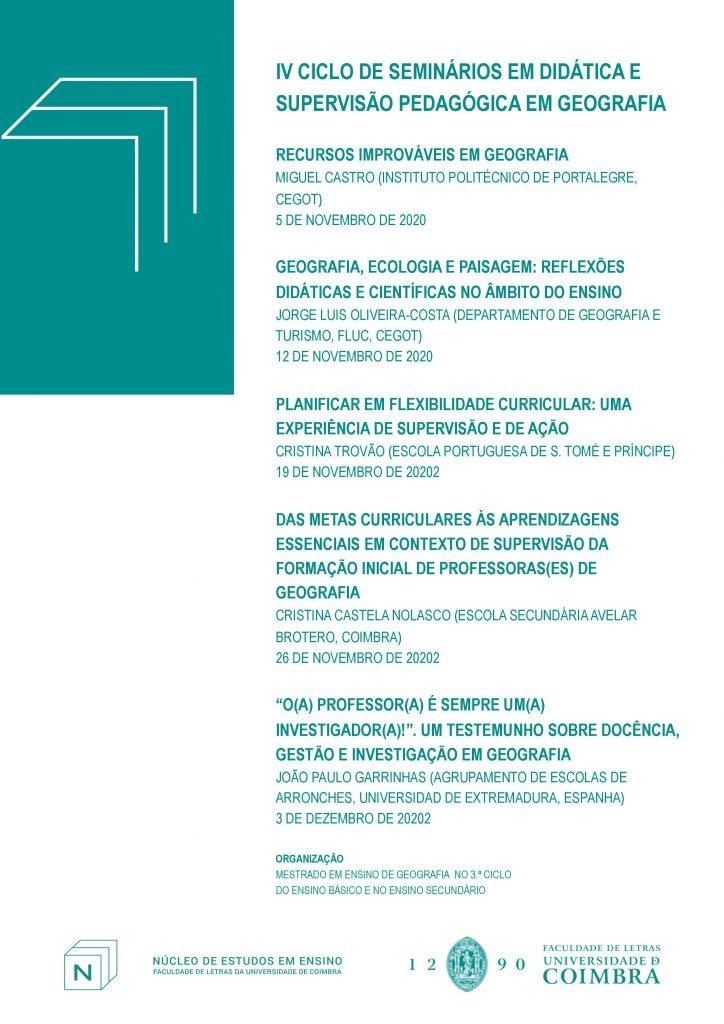 IV Ciclo de Seminários em Didática e Supervisão Pedagógica em Geografia