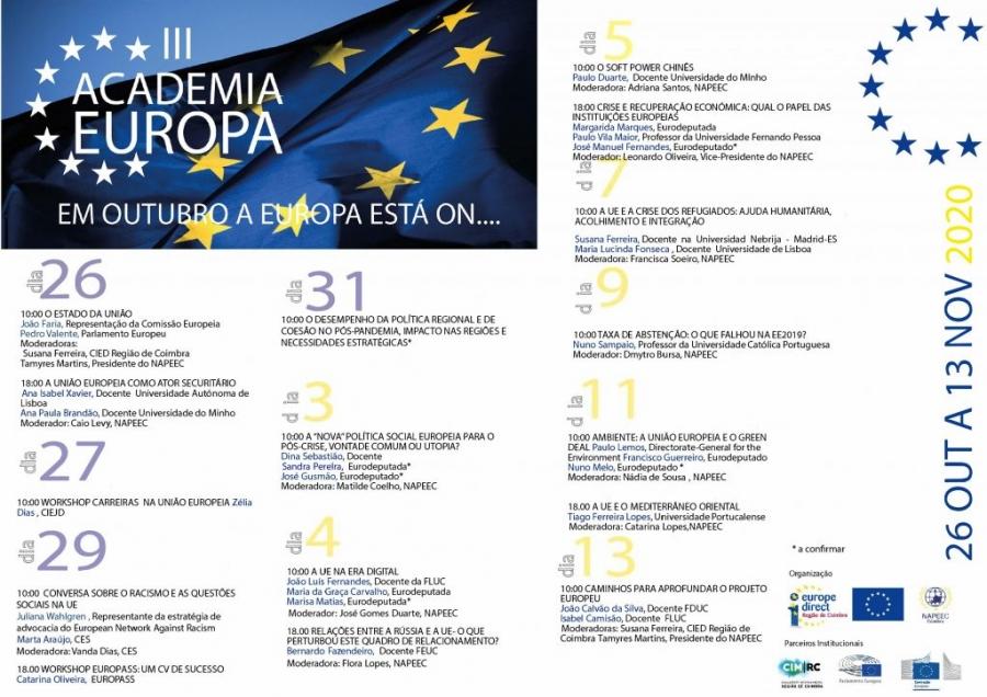 """III Academia Europa: """"Em Outubro a Europa está On"""""""