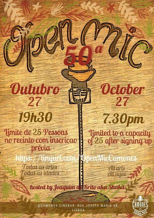 Open Mic - 50ª edição - All Arts, All Ages, All Rules
