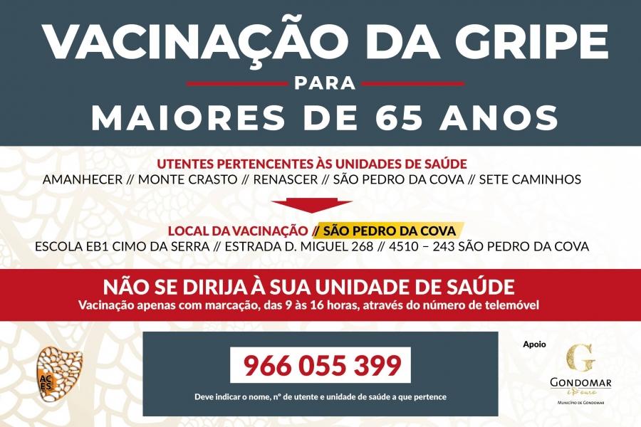 Vacinação da Gripe para maiores de 65 anos, em São Pedro da Cova