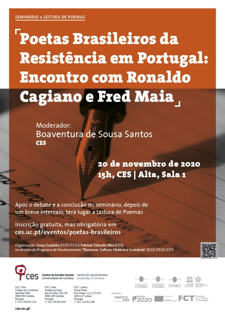 """""""Poetas Brasileiros da Resistência em Portugal: Encontro com Ronaldo Cagiano e Fred Maia"""