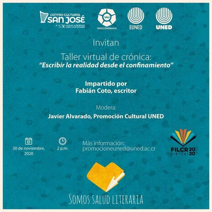 FERIA INTERNACIONAL DEL LIBRO. Taller de crónica: 'Escribir la realidad desde el confinamiento'