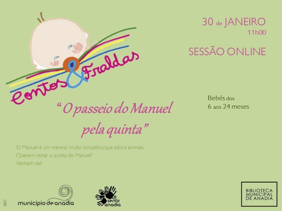 """Contos & Fraldas """"O passeio do Manuel pela quinta"""" - Sessão online"""