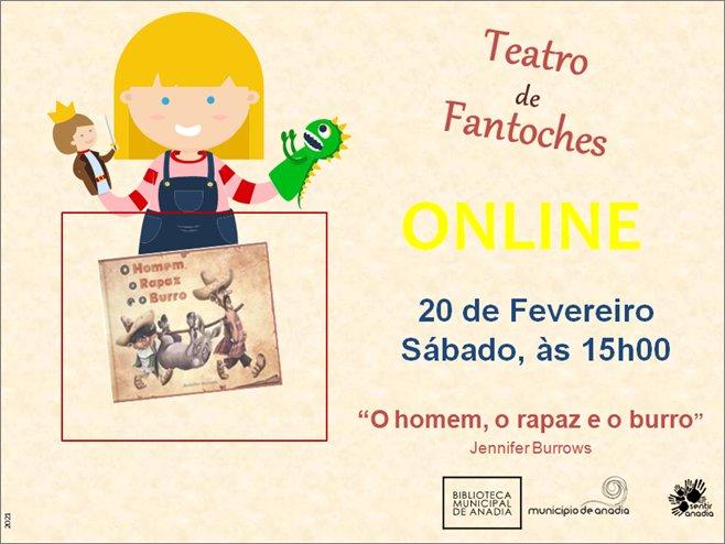 """Teatro de Fantoches - """"O Homem, o Rapaz e o Burro""""                              - SESSÃO ONLINE"""