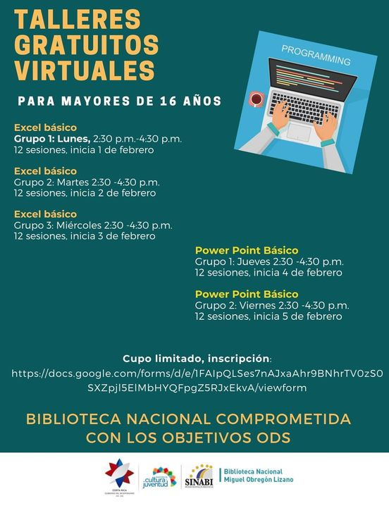 Talleres gratuitos virtuales