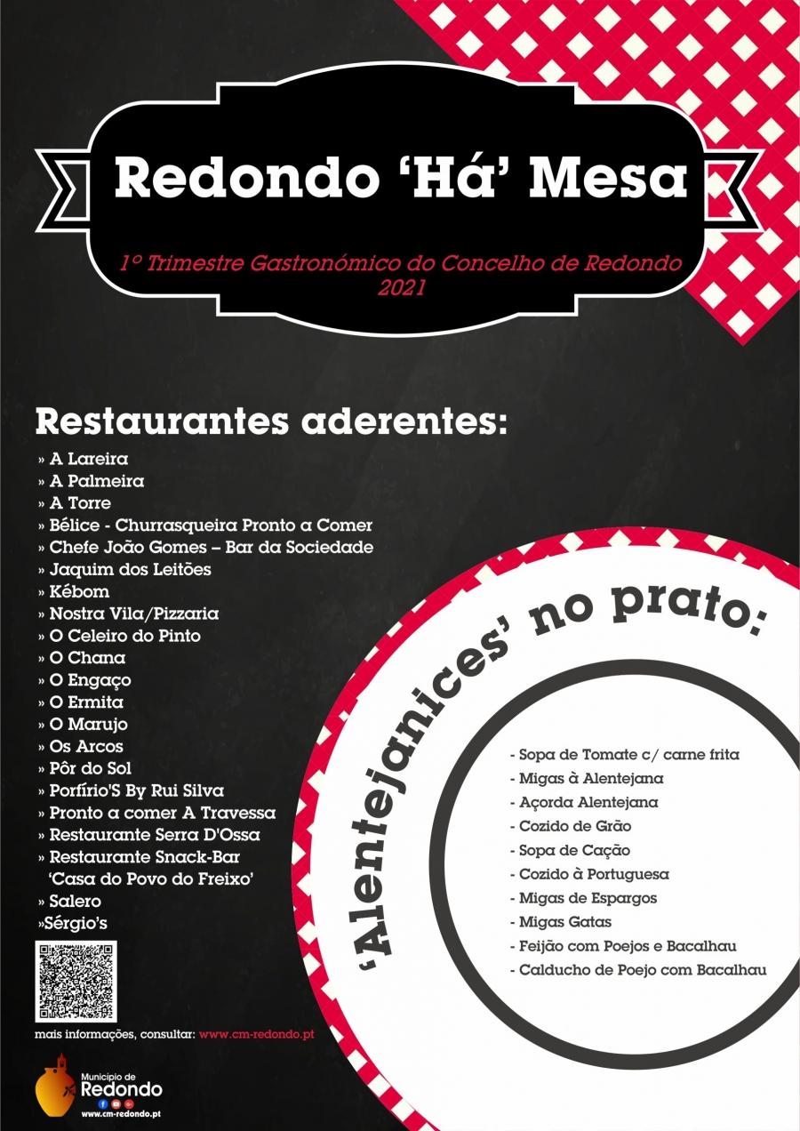 Redondo ´Há´ Mesa – 1º Trimestre Gastronómico do Concelho de Redondo 2021