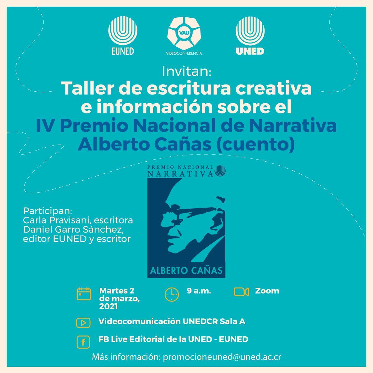 Taller de escritura creativa e información sobre el IV Premio Nacional de Narrativa Alberto Cañas