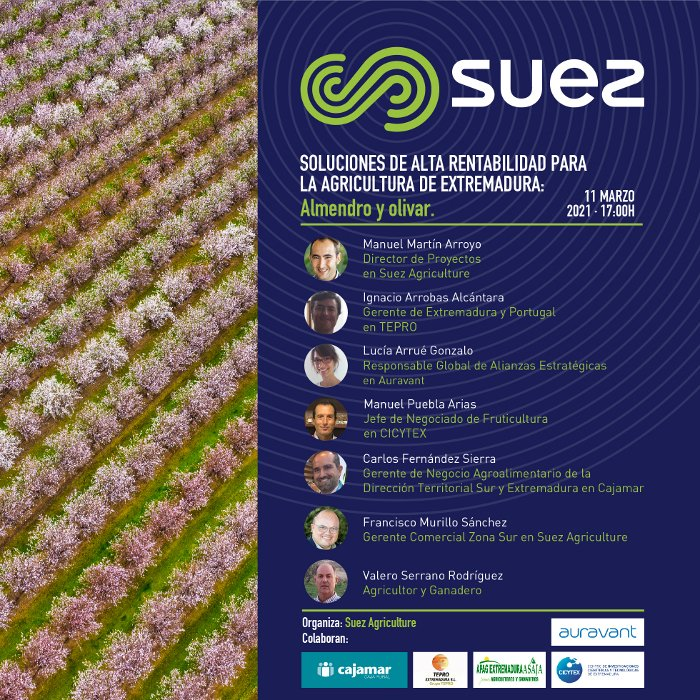 Webinar: Soluciones de alta rentabilidad para la agricultura de Extremadura: Almendro y olivar. 11 de marzo de 2021
