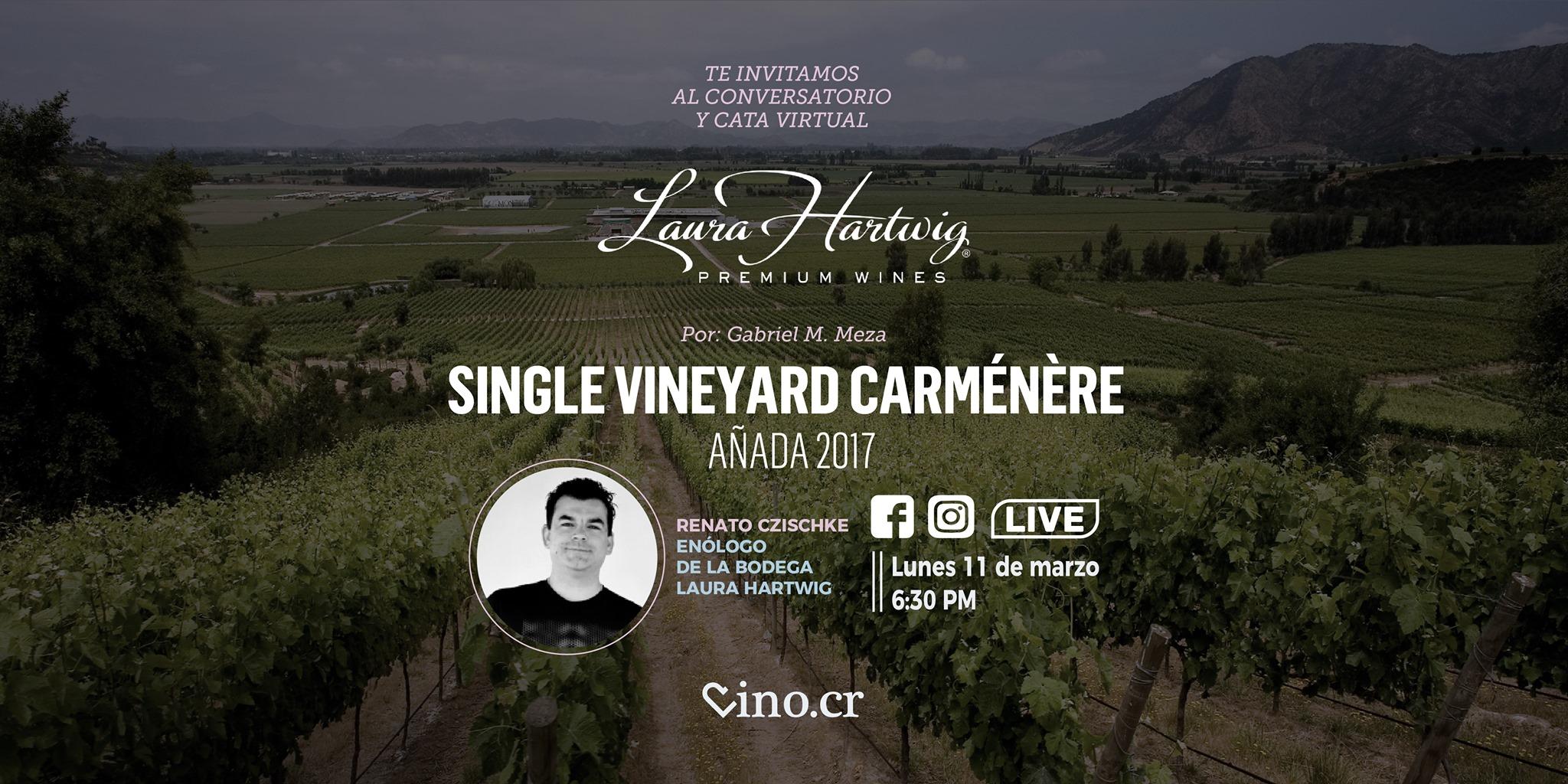 Conversatorio y cata virtual del vino Laura Hartwig Carménère 2017