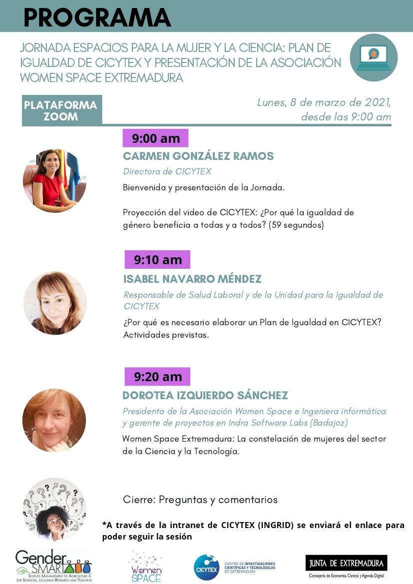 Espacios Mujer y Ciencia: Plan de Igualdad de CICYTEX y presentación Women Space Extremadura. 8 de marzo de 2021