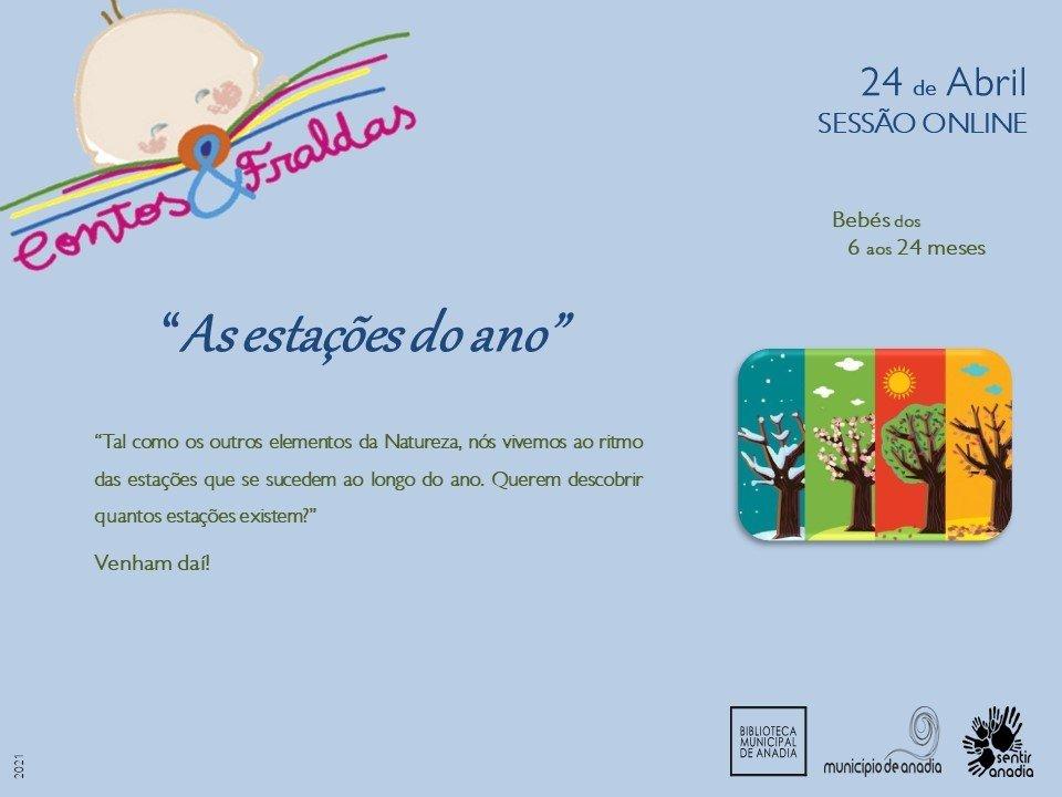 """Contos & Fraldas  - """"As estações do ano"""" (sessão online)"""