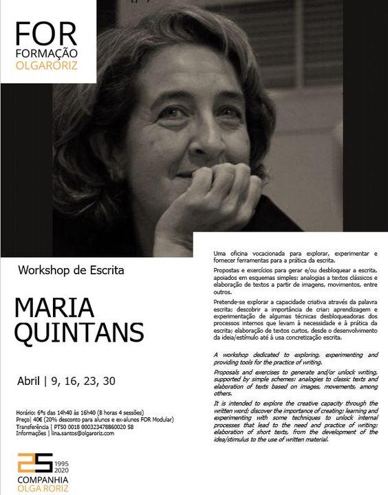 Workshop de Escrita por Maria Quintans