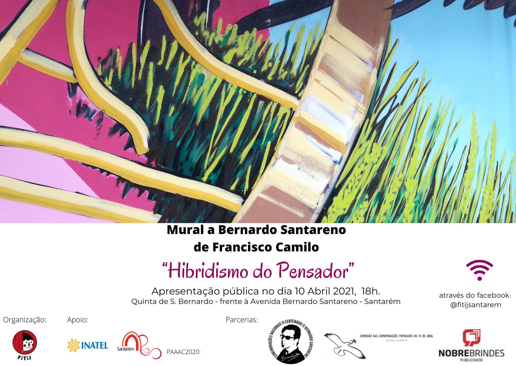"""""""Hibridismo do Pensador"""" - Bernardo Santareno em Mural, em Santarém"""