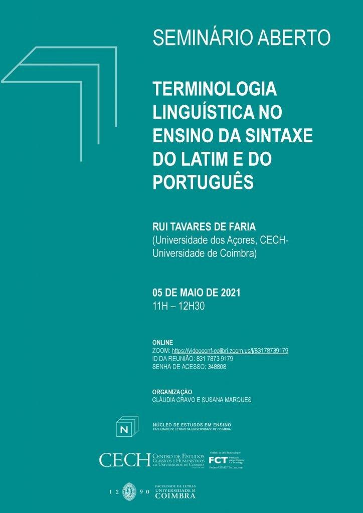 """Seminário Aberto """"Terminologia linguística no ensino da sintaxe do Latim e do Português"""""""