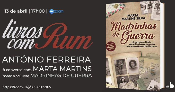 Livros com RUM - António Ferreira vai estar à conversa com Marta Martins Silva, convidada a falar so