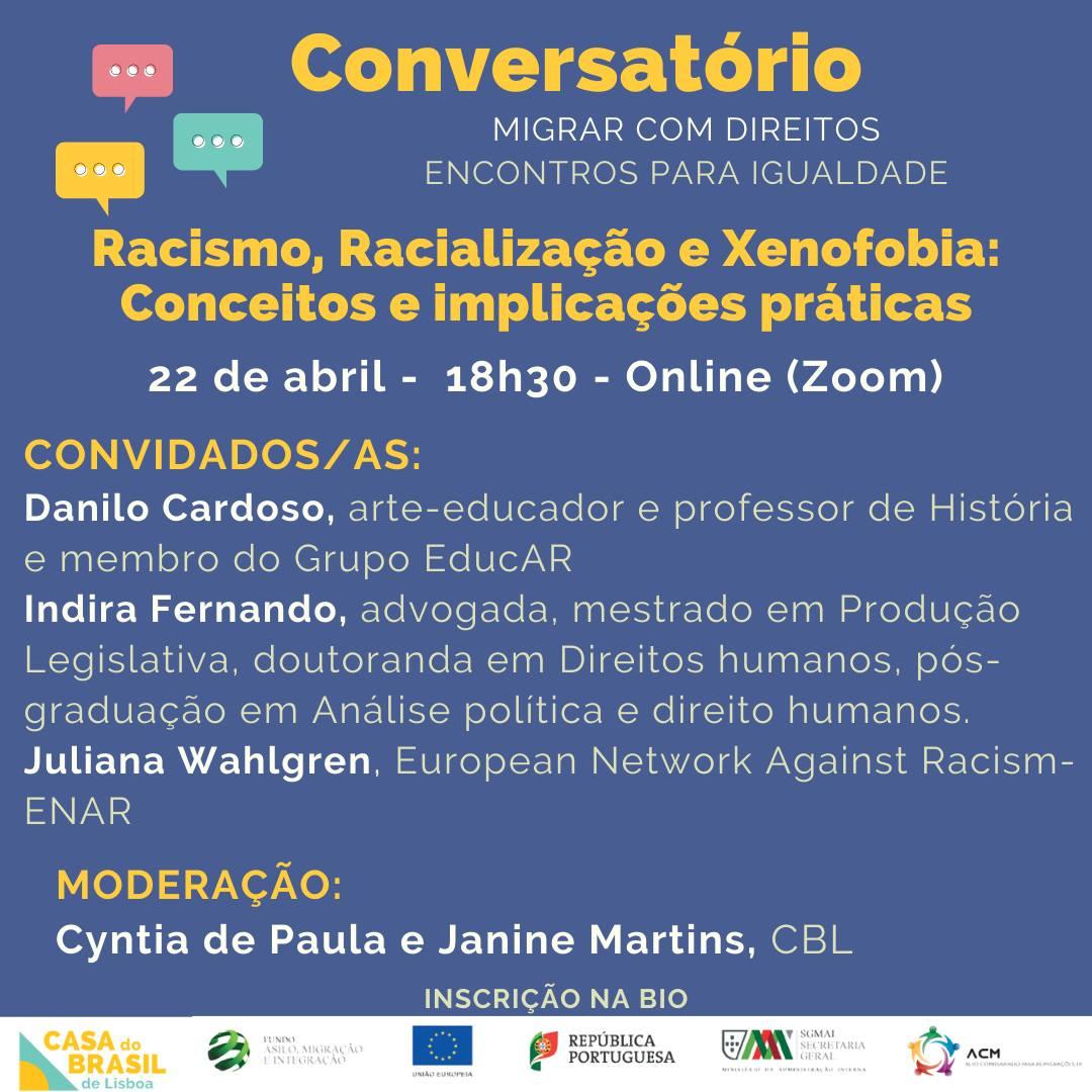 Conversatório: Racismo, Racialização e Xenofobia - conceitos e implicações práticas