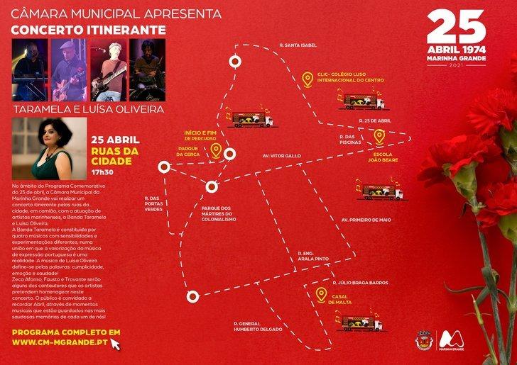 Concerto itinerante com os artistas marinhenses, Taramela e Luísa Oliveira - COMEMORAÇÕES DO 25 DE ABRIL