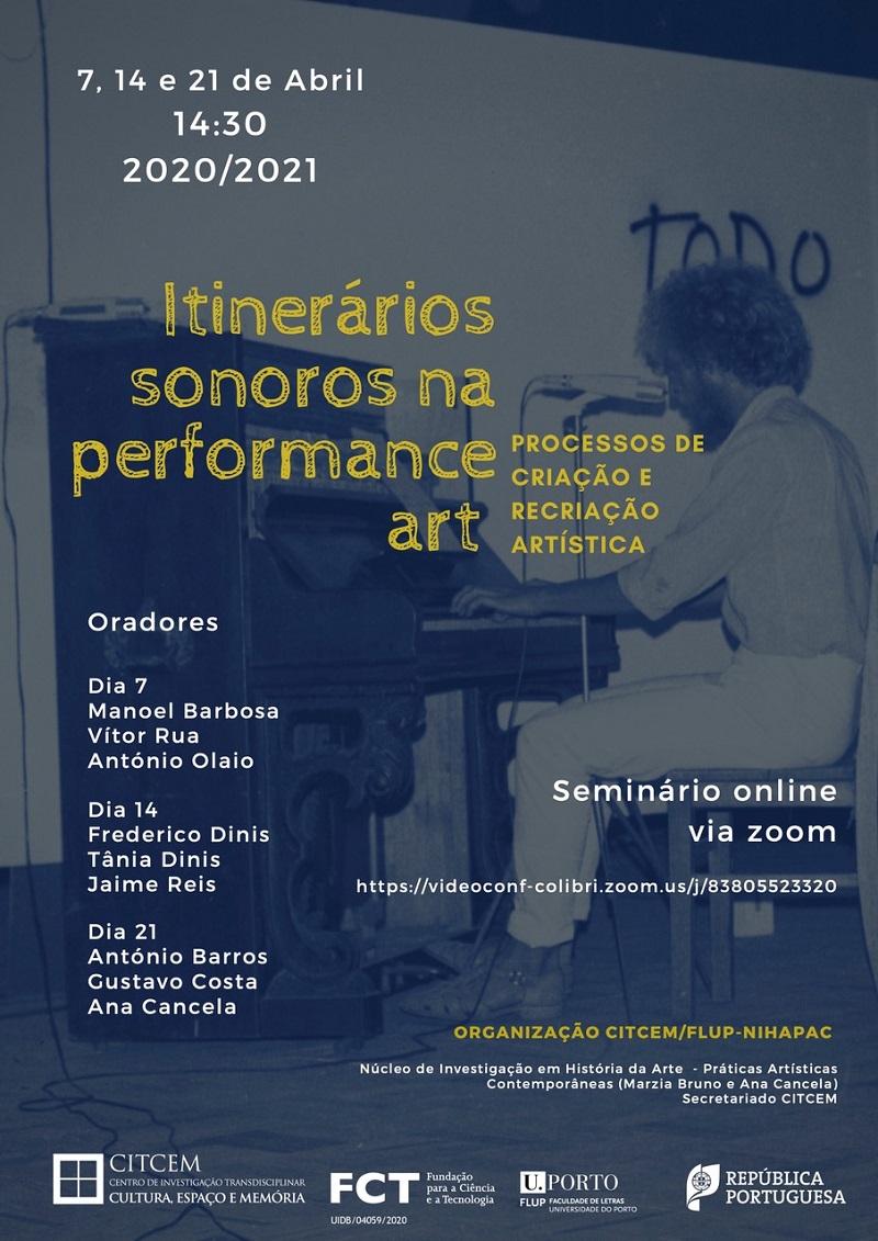Seminário Itinerários sonoros na performance art: processos de criação e recriação artística-Sessão3