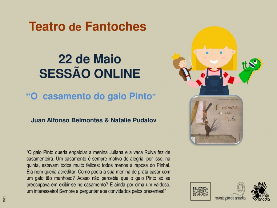 """Teatro de Fantoches - """"O casamento do galo Pinto"""" (sessão online)"""
