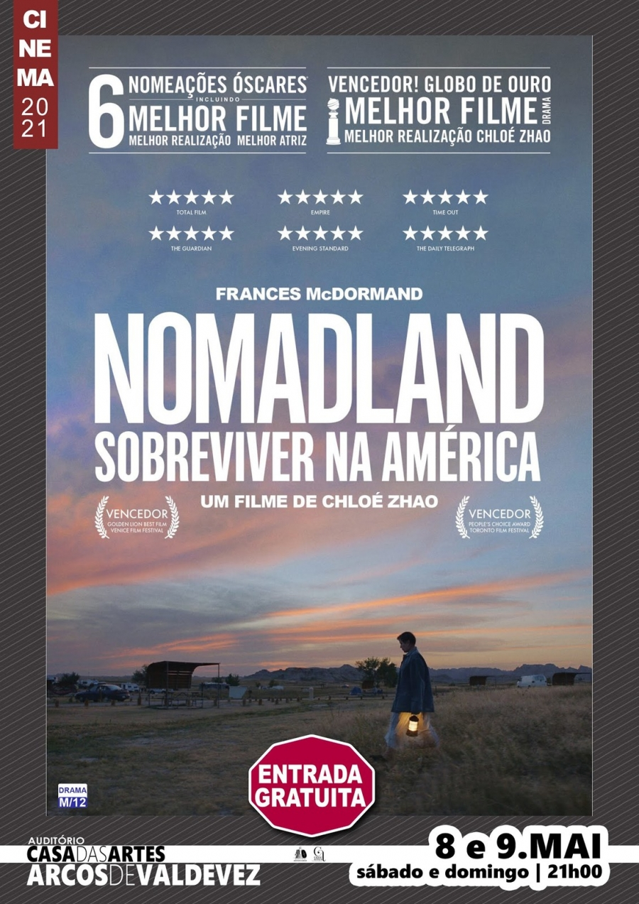 Exibição do filme 'Nomadland - sobreviver na América'