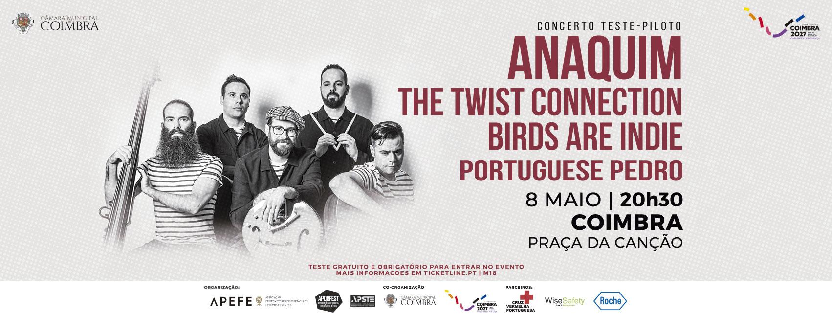 ANAQUIM, THE TWIST CONNECTION, BIRDS ARE INDIE, PORTUGUESE PEDRO - CONCERTO TESTE-PILOTO