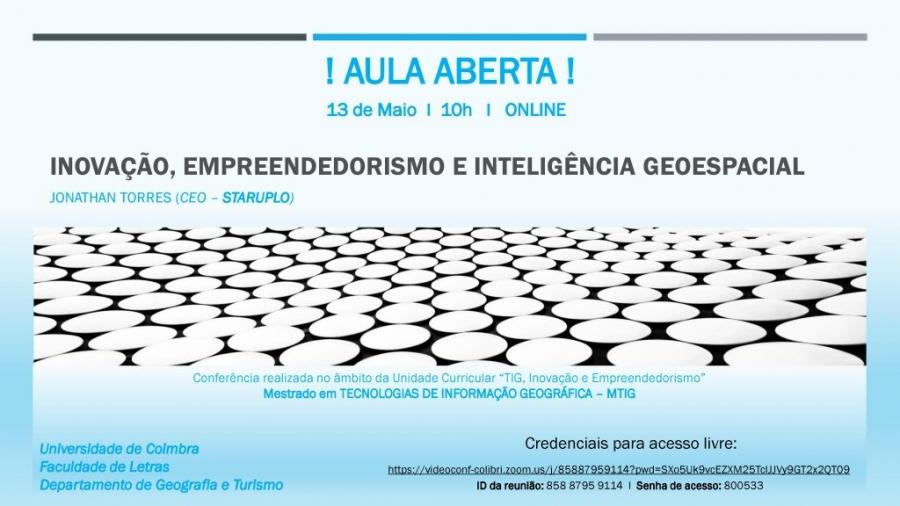 """Aula Aberta """"Inovação, Empreendedorismo e Inteligência Geoespacial"""""""