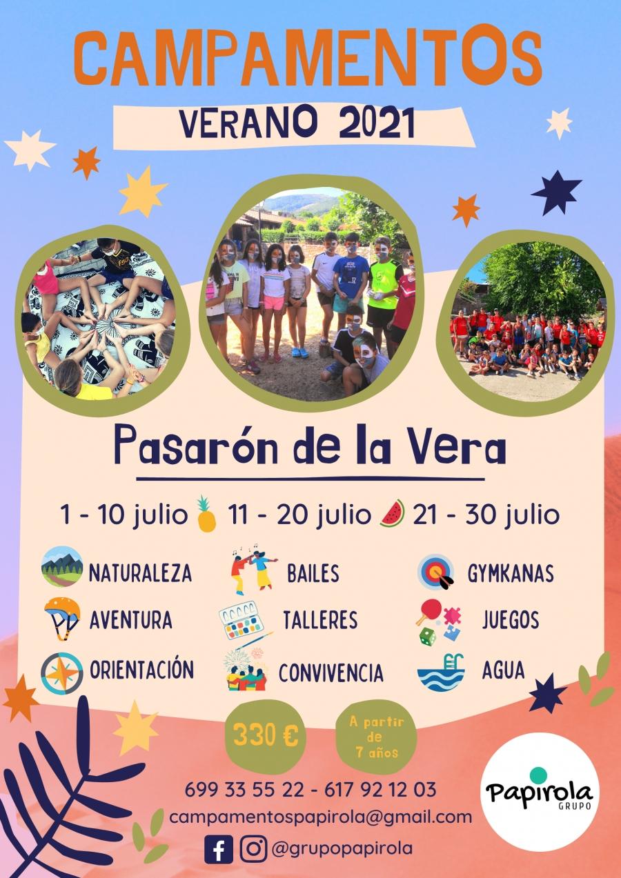 Campamentos Verano 2021 *Grupo Papirola* Pasarón de la Vera (Cáceres)