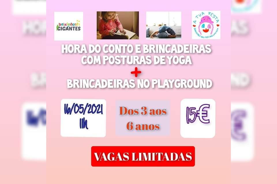 Hora do Conto e brincadeiras com posturas de ioga & Brincadeiras no Playground