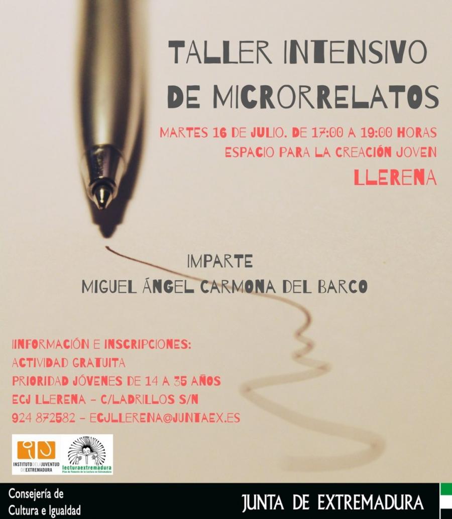 Taller intensivo  de micro relatos gratuito en el ECJ Llerena