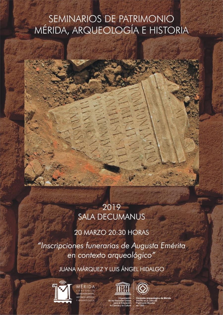 """Seminario de Patrimonio: """"Inscripciones funerarias de Augusta Emerita en contexto arqueológico"""""""