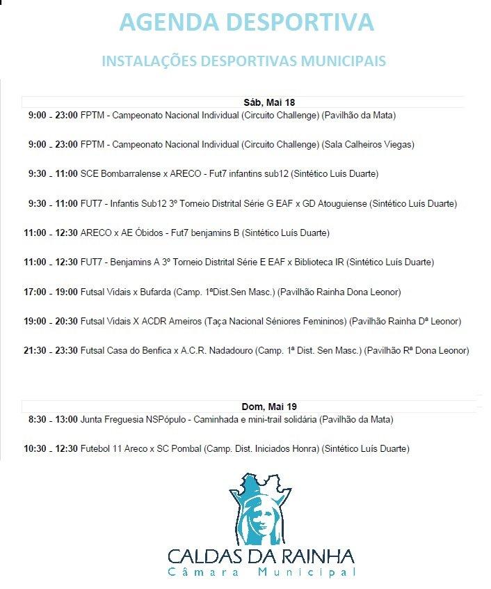 Agenda Desportiva nas Instalações Desportivas Municipais