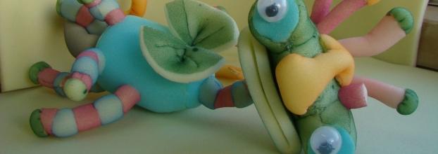 oficina de criação de marionetas em esponja