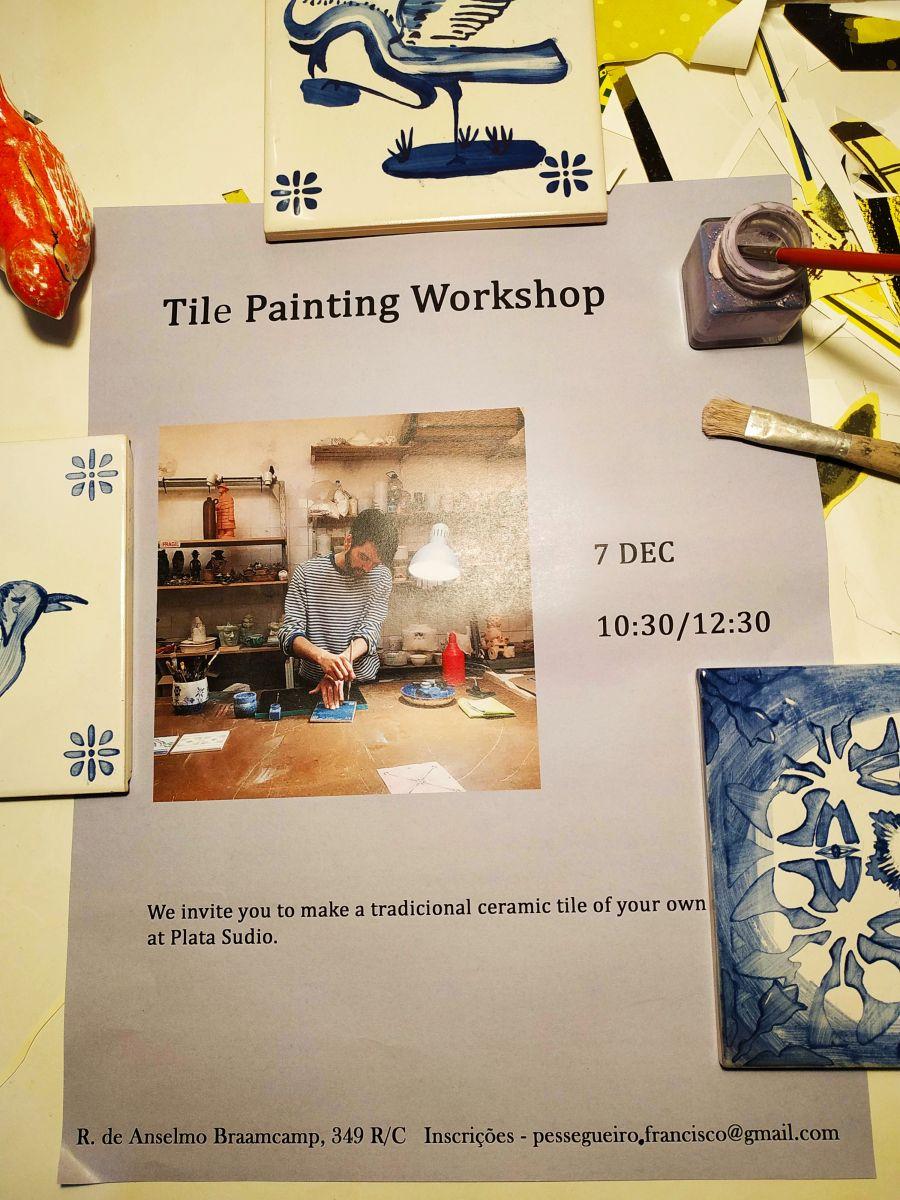 Oficina de pintura de azulejo